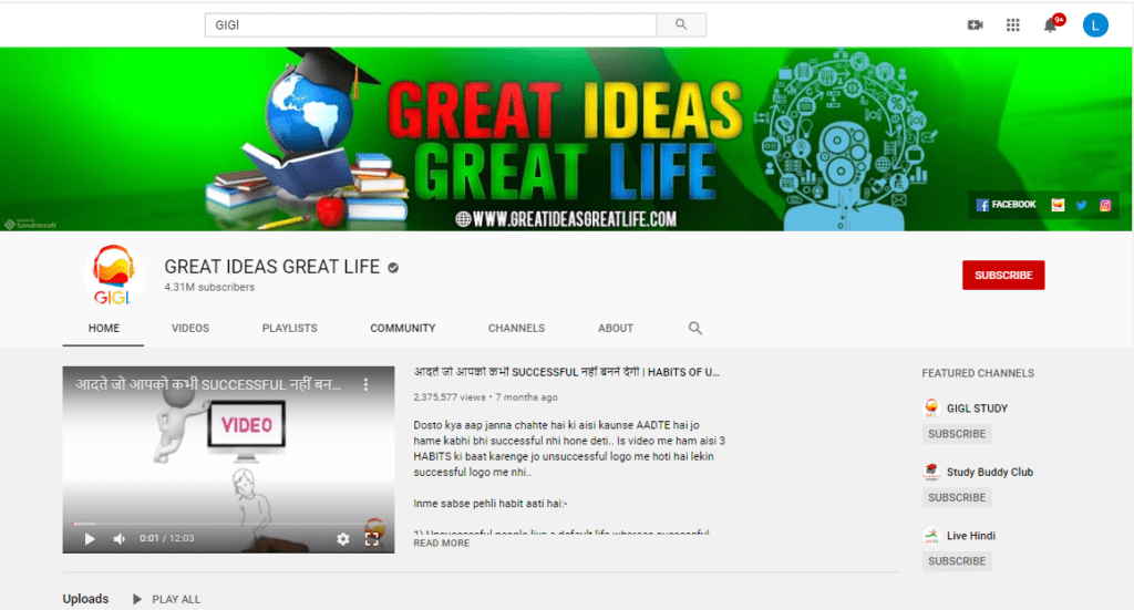 Great Ideas Great Life YouTube Channel